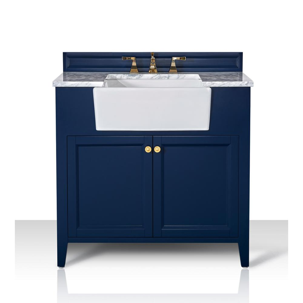 Ancerre Designs Adeline 36 in. W x 20.1 in. D Bath Vanity in Heritage Blue with Marble Vanity Top in Carrara White with White Basin