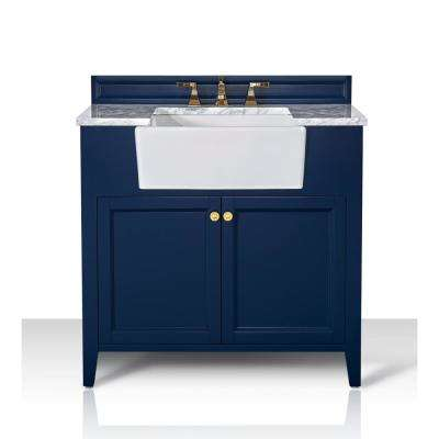 Adeline 36 in. W x 20.1 in. D Bath Vanity in Heritage Blue with Marble Vanity Top in Carrara White with White Basin