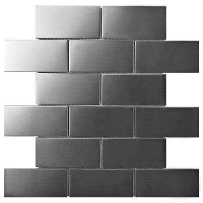 Meta Super Subway 10 in. x 11-3/4 in. x 8 mm Stainless Steel Over Ceramic Mosaic Tile