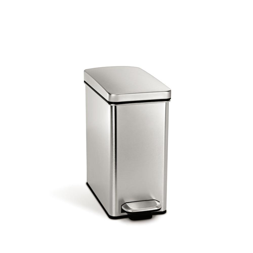 simplehuman 10 l Profile Step Trash Can in Fingerprint-Proof Brushed Stainless Steel-DISCONTINUED