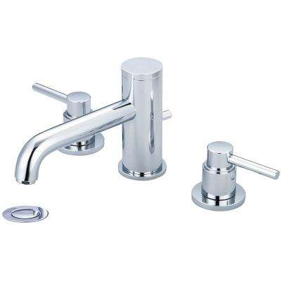 Motegi 8 in. Widespread 2-Handle Bent Nose Spout Bathroom Faucet in Polished Chrome with Drain Assembly