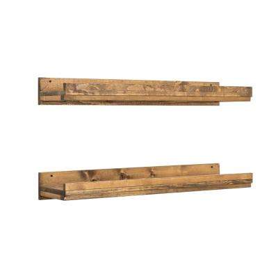 Rustic Luxe 36 in. W x 10 in. D Floating Dark Walnut Decorative Shelves (Set of 2)