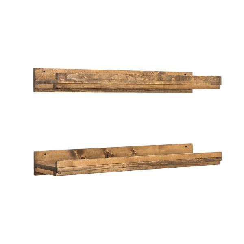 Del Hutson Designs Rustic Luxe 36 in. W x 10 in. D Floating Dark Walnut Decorative Shelves (Set of 2)