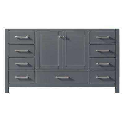 Colette 60 in. W x 22 in. D x 34.2 in. H Bath Vanity Cabinet Only in Cashmere Grey