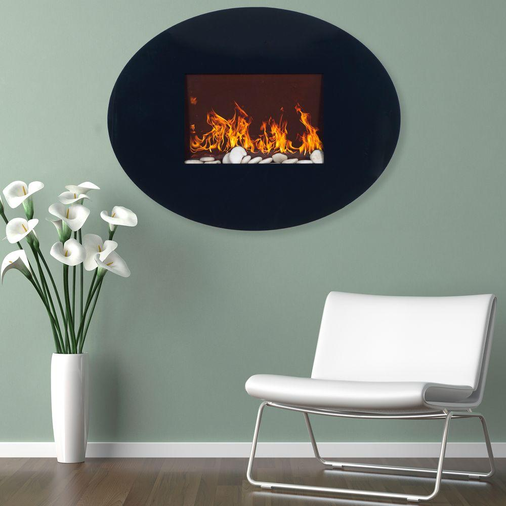 Remarkable Northwest 34 In Wall Mount Oval Glass Electric Fireplace In Black Home Interior And Landscaping Ponolsignezvosmurscom