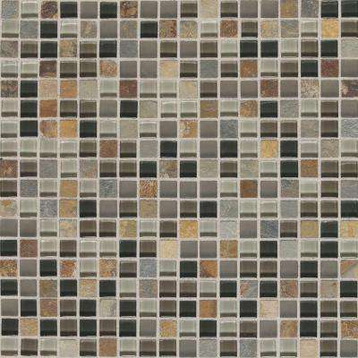 Slate Radiance Flint 11-3/4 in. x 11-3/4 in. x 8 mm Glass and Stone Mosaic Blend Wall Tile (1 sq. ft. / piece)