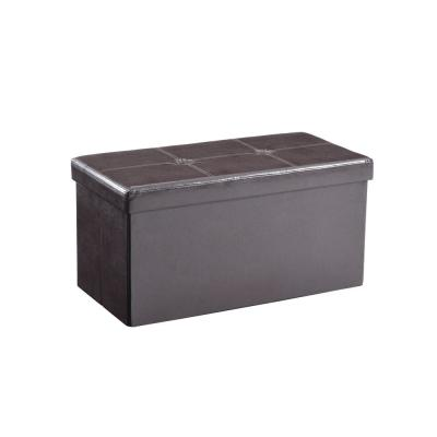 Double, Foldable, Faux Leather, Storage  Brown Ottoman