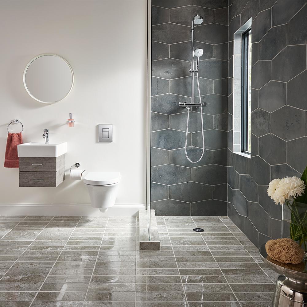 Castle Rock Gray 9.5 in. x 19.5 in. Matte Porcelain Hexagon Wall and Floor Tile (12.15 sq. ft./Case)