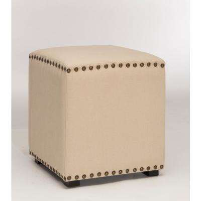 Evie Cream Fabric Backless Vanity Stool