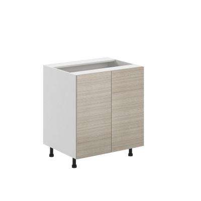 Ready to Assemble 30x34.5x24.5 in. Geneva Full Height Base Cabinet in White Melamine and Door in Silver Pine