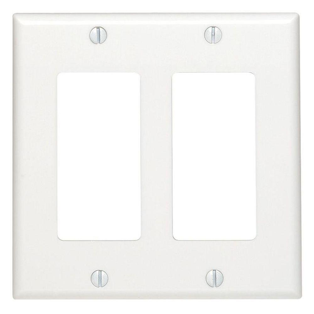 Leviton White 2 Gang Decorator Rocker Wall Plate 1 Pack R52 80409 00w The Home Depot