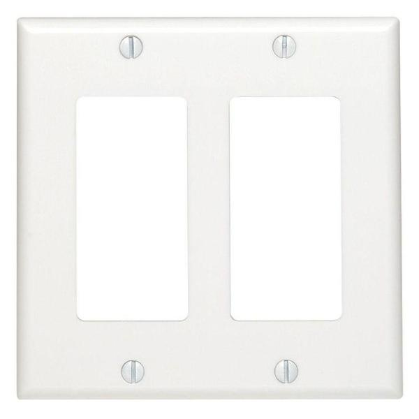 White 2-Gang Decorator/Rocker Wall Plate (1-Pack)