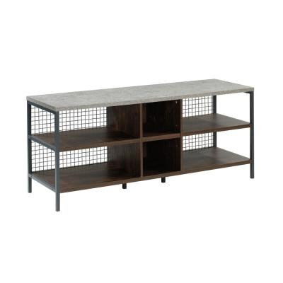 Market Commons 55 in. Rich Walnut Composite TV Stand Fits TVs Up to 60 in. with Cable Management