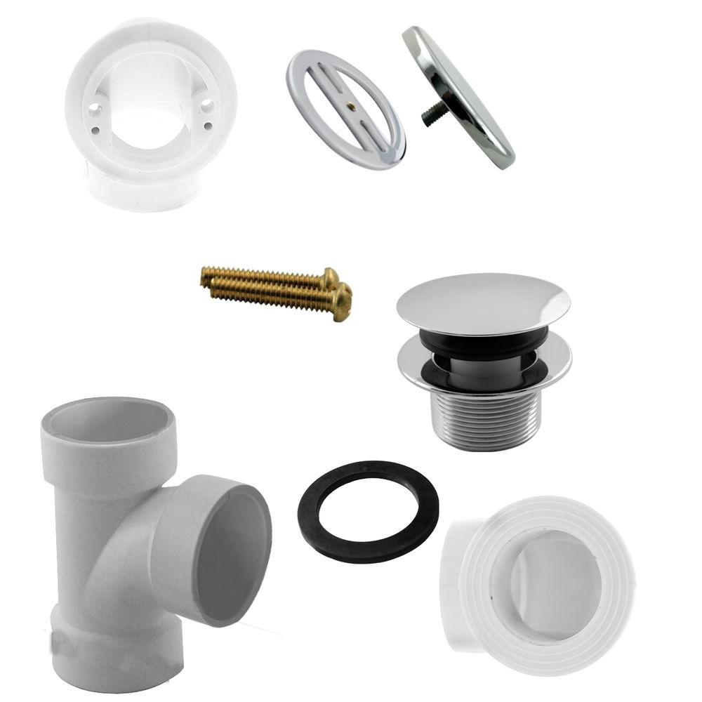 Illusionary Overflow Sch. 40 PVC Plumbers Pack with Tip-Toe Bath Drain