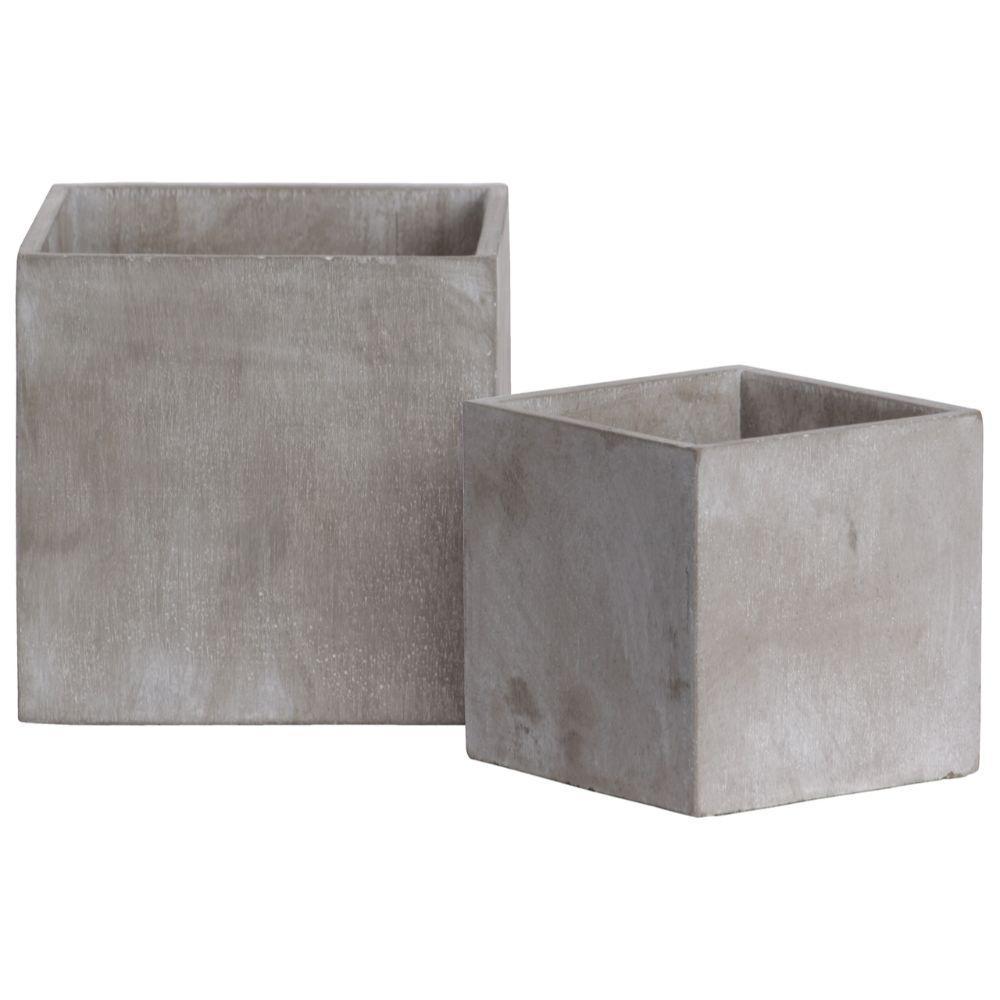 6.25 in. Dia Gray Cement Concrete Square Pot (2-Pack)