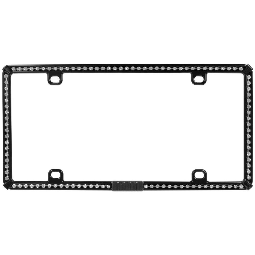 Black Metal License Plate Frame with White Bling-92854 - The Home Depot