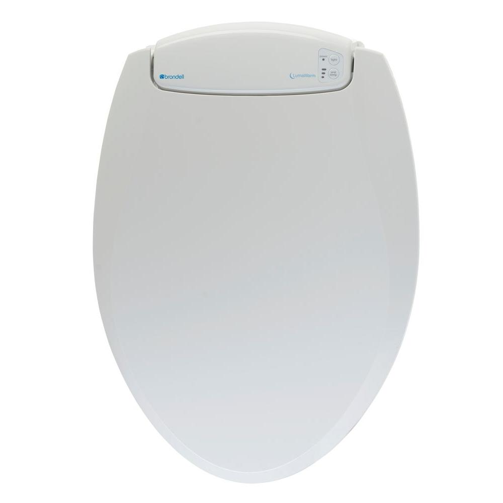 LumaWarm Heated Nightlight Elongated Closed Front Toilet Seat in Biscuit