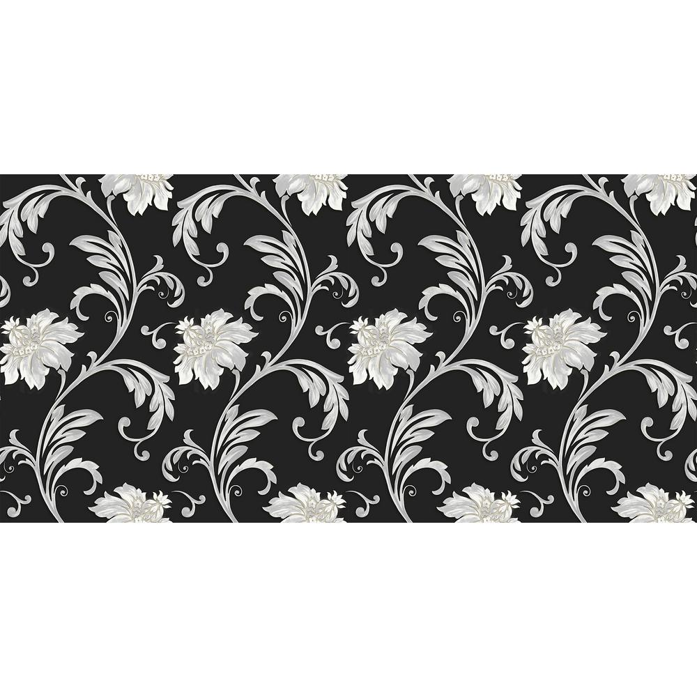 Norwall floral scroll wallpaper jc20065 the home depot - Floral wallpaper home depot ...