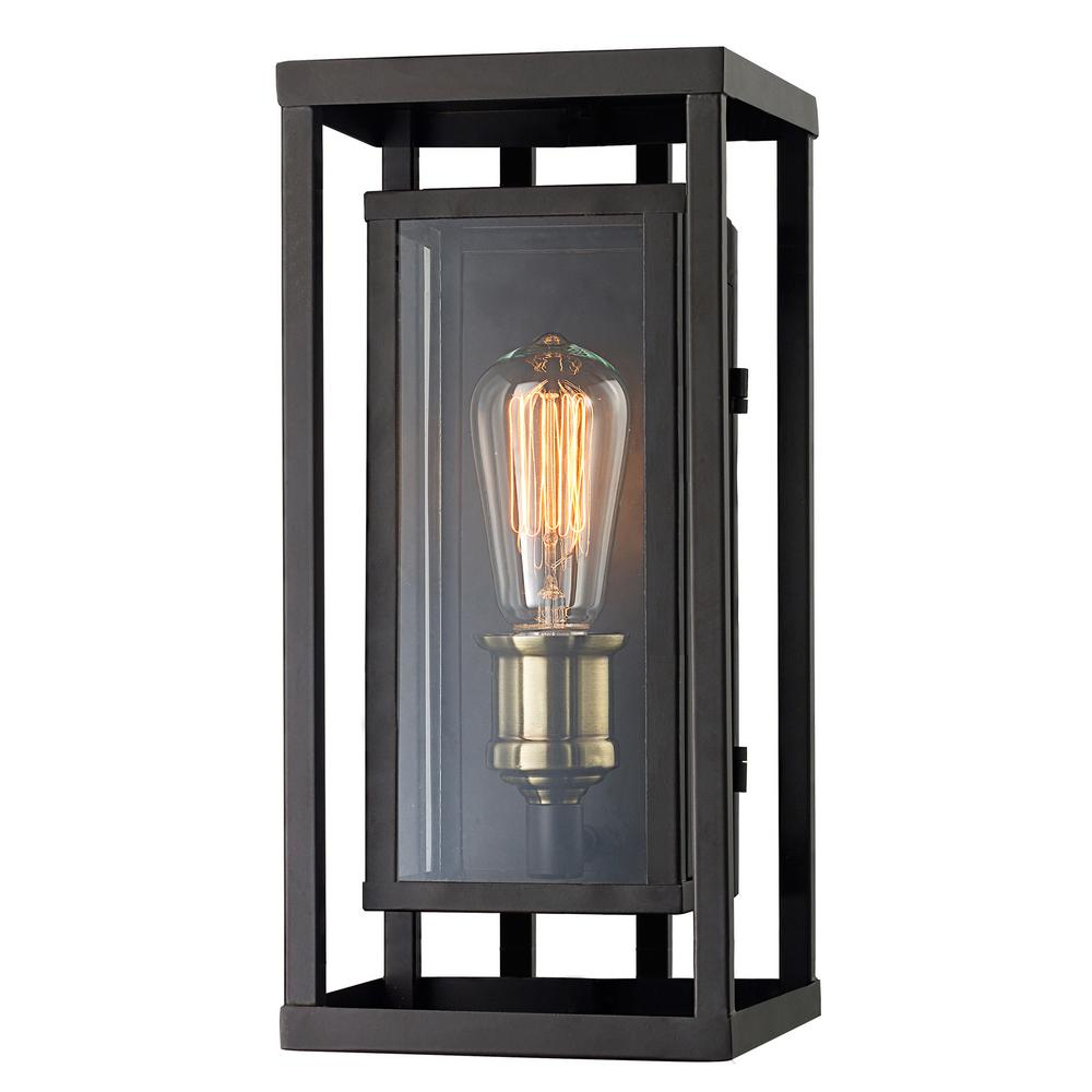 Monteaux Lighting Retro 1-Light Oil Rubbed Bronze and Antique Brass Outdoor Wall Lantern