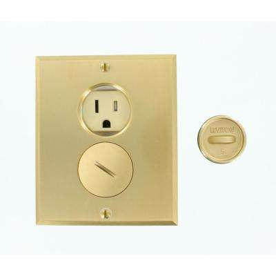 15 Amp Commercial Grade Tamper Resistant Self Grounding Duplex Outlet Floor Box, Ivory/Brass