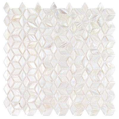 Pacif White 3D Illusion Pearl Shell Mosaic Tile -3 in. x 6 in. Tile Sample