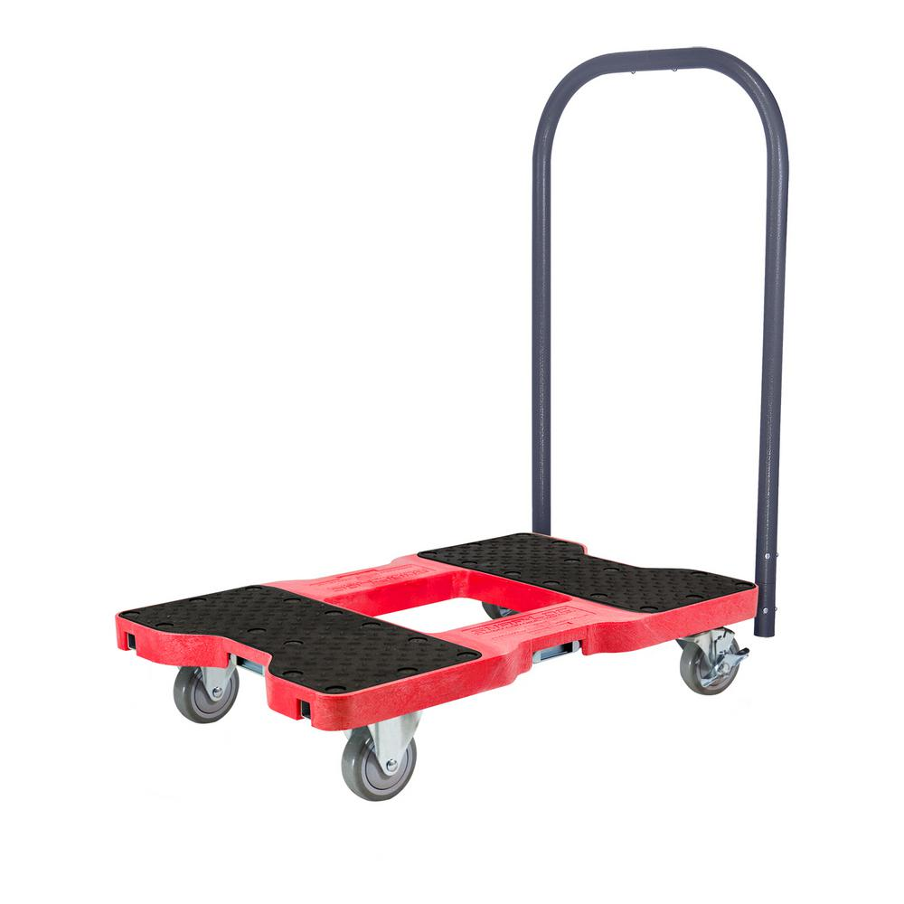 SNAP-LOC 1500 lbs. Capacity Industrial Strength Professional E-Track Push Cart Dolly in Red