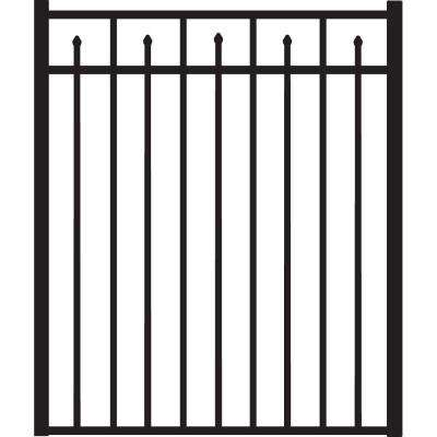 Brilliance Heavy-Duty 4 ft. x 4-1/2 ft. Black Aluminum Straight Pre-Assembled Fence Gate