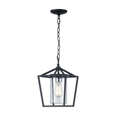 Monteaux 1-Light Black Outdoor Pendant with Clear Glass