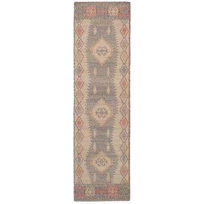 Kozak Brown, Ivory 3 ft. x 10 ft. Indoor Runner Rug