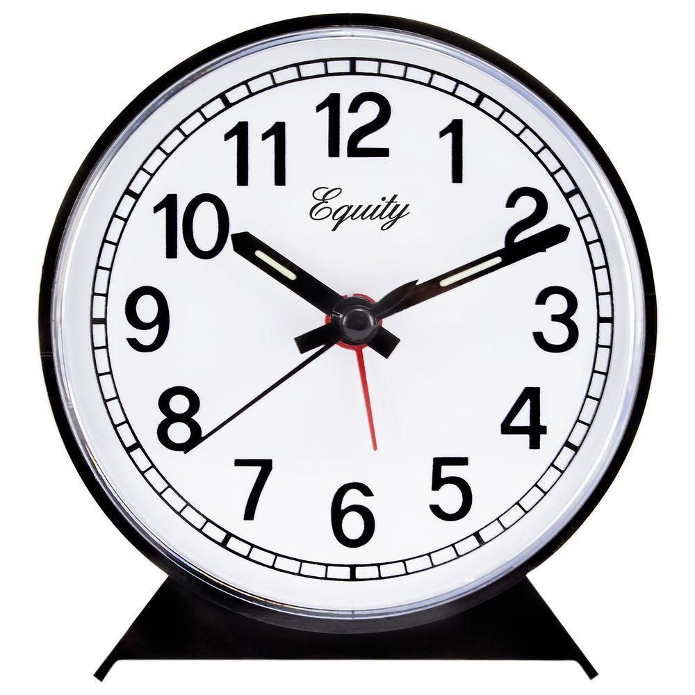 Analog 4 in. Round Keywind Alarm Clock, Black