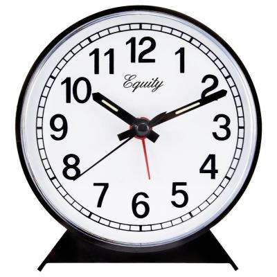 Analog 4 in. Round Keywind Alarm Clock, Black