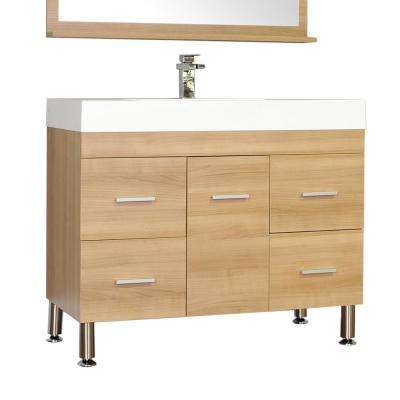 Ripley 39.25 in. W x 18.75 in. D x 33.12 in. H Vanity in Light Oak with Acrylic Vanity Top in White with White Basin