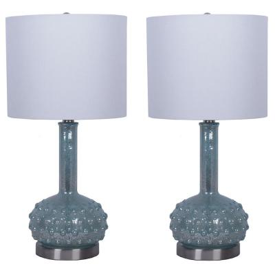 Decor Therapy Mercury Glass Genie 22.5 in. Morning Dew Blue Table Lamps with Shade (Set of 2)