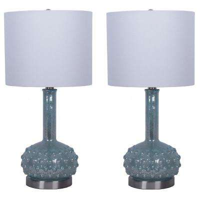 Mercury Glass Genie 22.5 in. Morning Dew Blue Table Lamps with Shade (Set of 2)