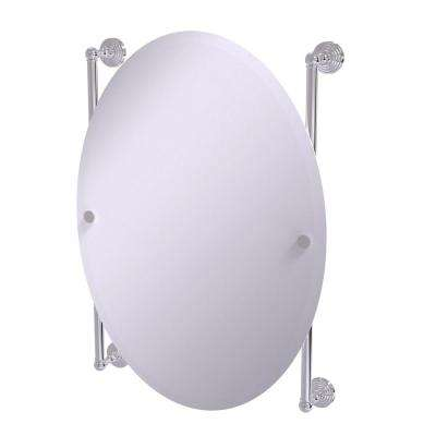 Waverly Place Collection Oval Frameless Rail Mounted Mirror in Polished Chrome