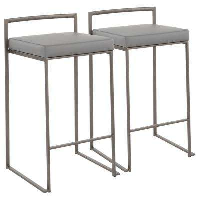 Fuji 26 in. Antique Stackable Counter Stool with Grey Faux Leather Cushion (Set of 2)