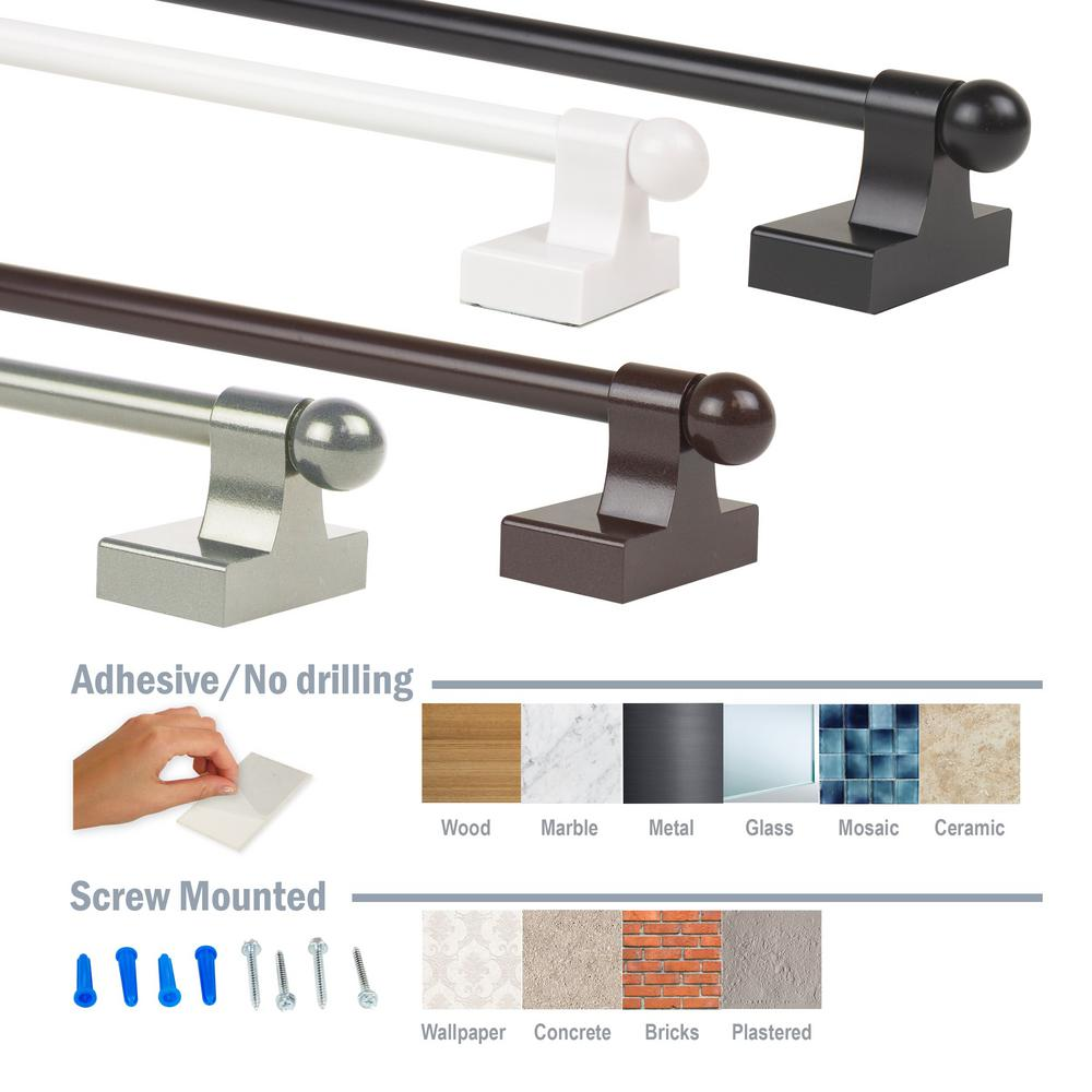 Emoh 7 16 Inch Self Adhesive Or Wall Mounted Adjustable Rod 9 16