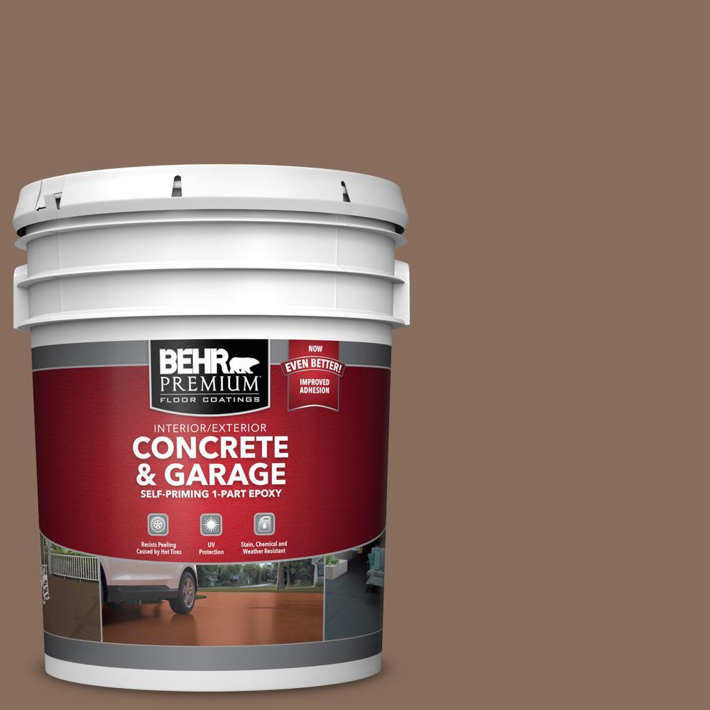 5 gal. #N190-6 Nut Brown 1-Part Epoxy Satin Interior/Exterior Concrete and Garage Floor Paint