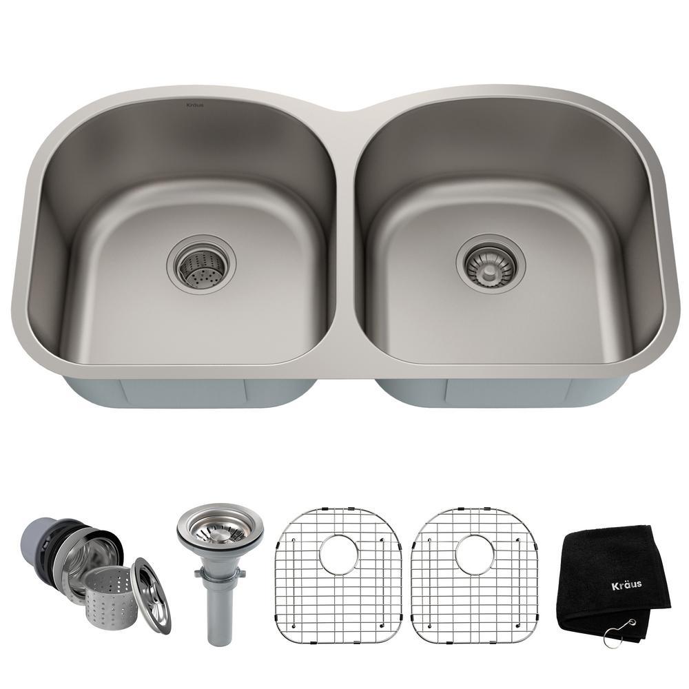 Premier Undermount Stainless Steel 39 in. 50/50 Double Bowl Kitchen Sink