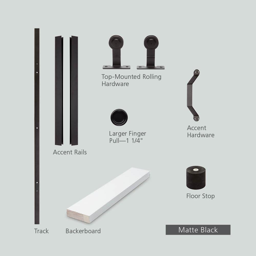 72 in. DesignGlide Matte Black Soft-Close Barn Door Sliding Door Hardware Kit