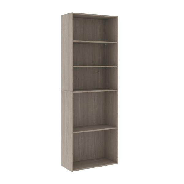 Beginnings 71.181 in. Silver Sycamore 5-Shelf Standard Style Bookcase