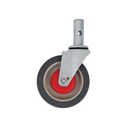 5 in. x 1-3/4 in. Swivel Caster Assembly Gray Polyurethane Flat Tread
