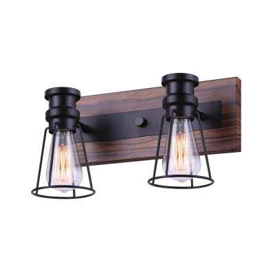 Blake 14 in. 2-Light Matte Black and Faux Wood Vanity Light