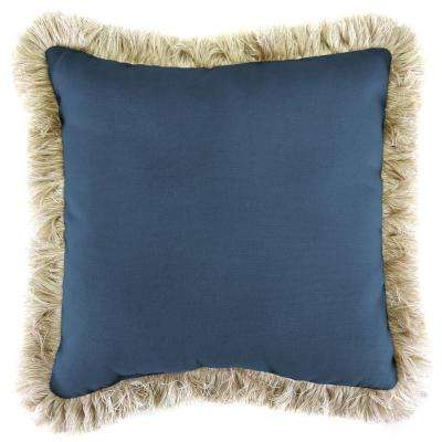 Sunbrella Canvas Sapphire Blue Square Outdoor Throw Pillow with Canvas Fringe