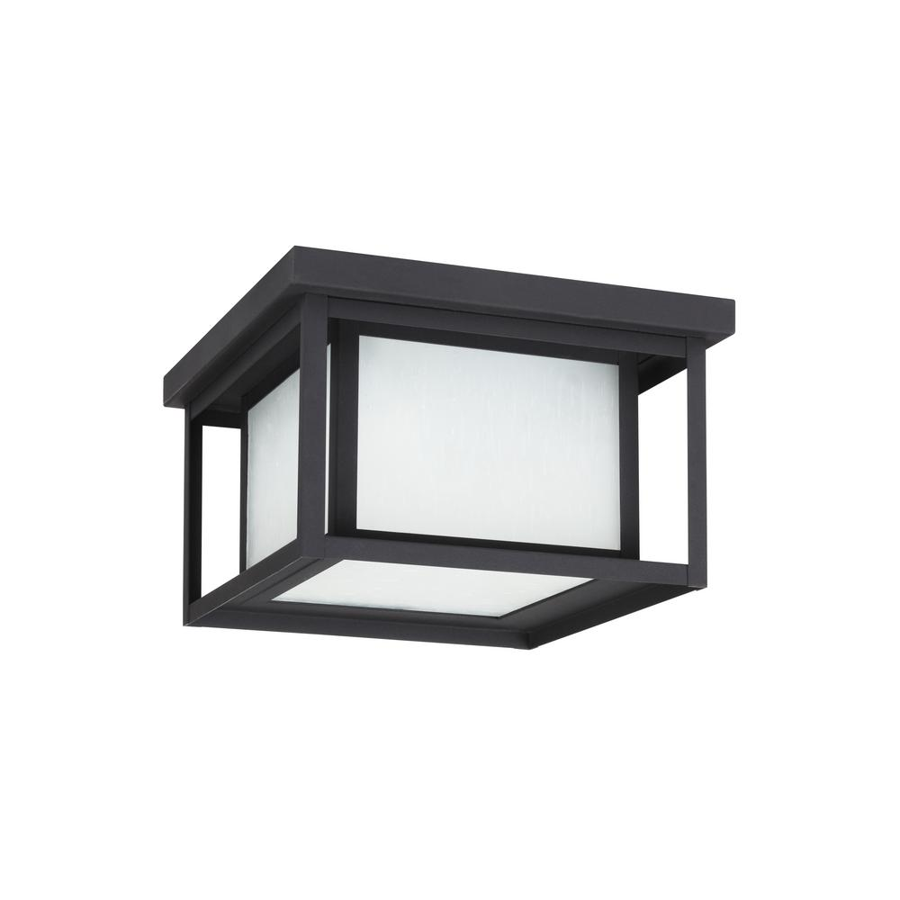 Hunnington 10 in. W. Black 2-Light Outdoor Flush Mount with LED