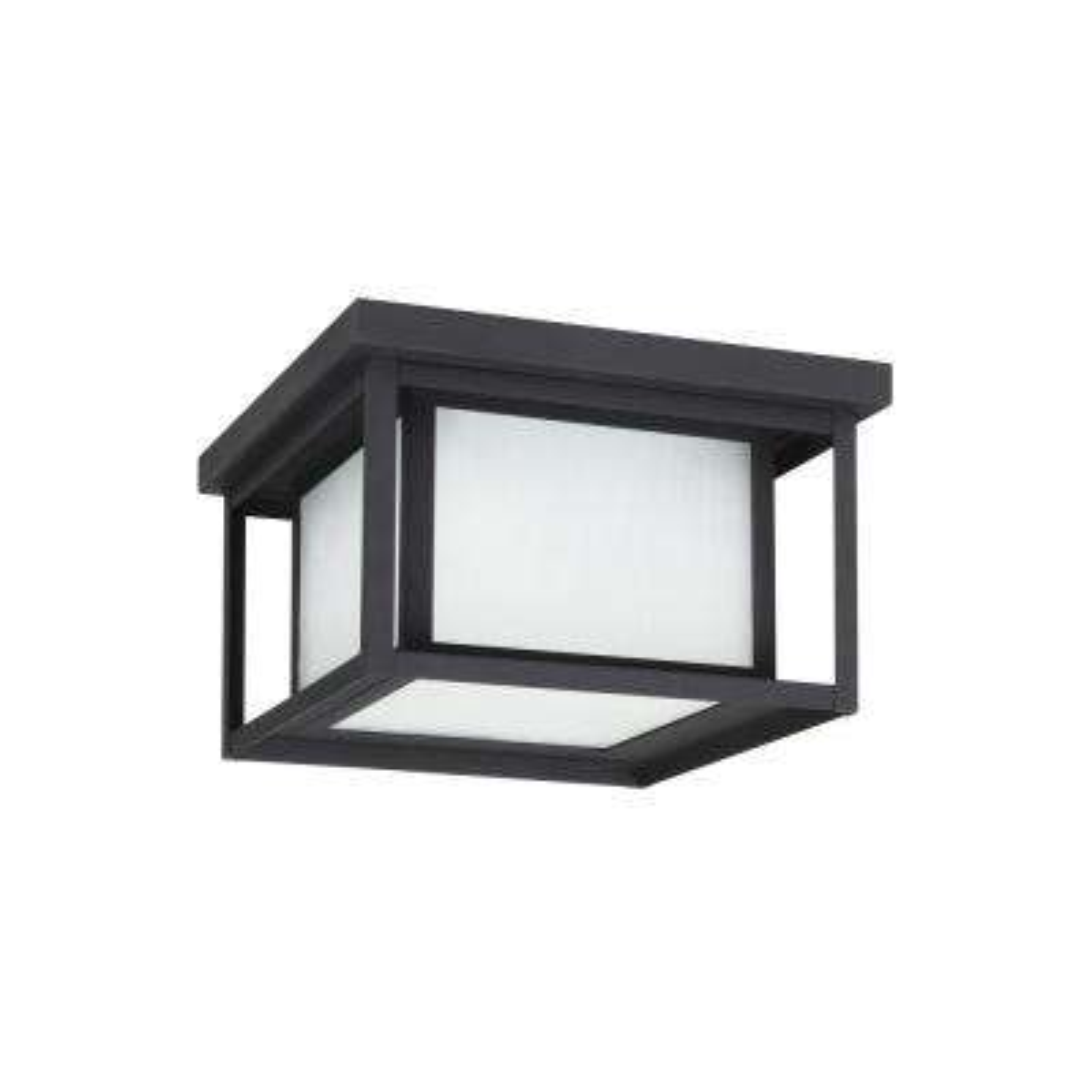 Hunnington Black 2-Light Outdoor Flush Mount with LED Bulb