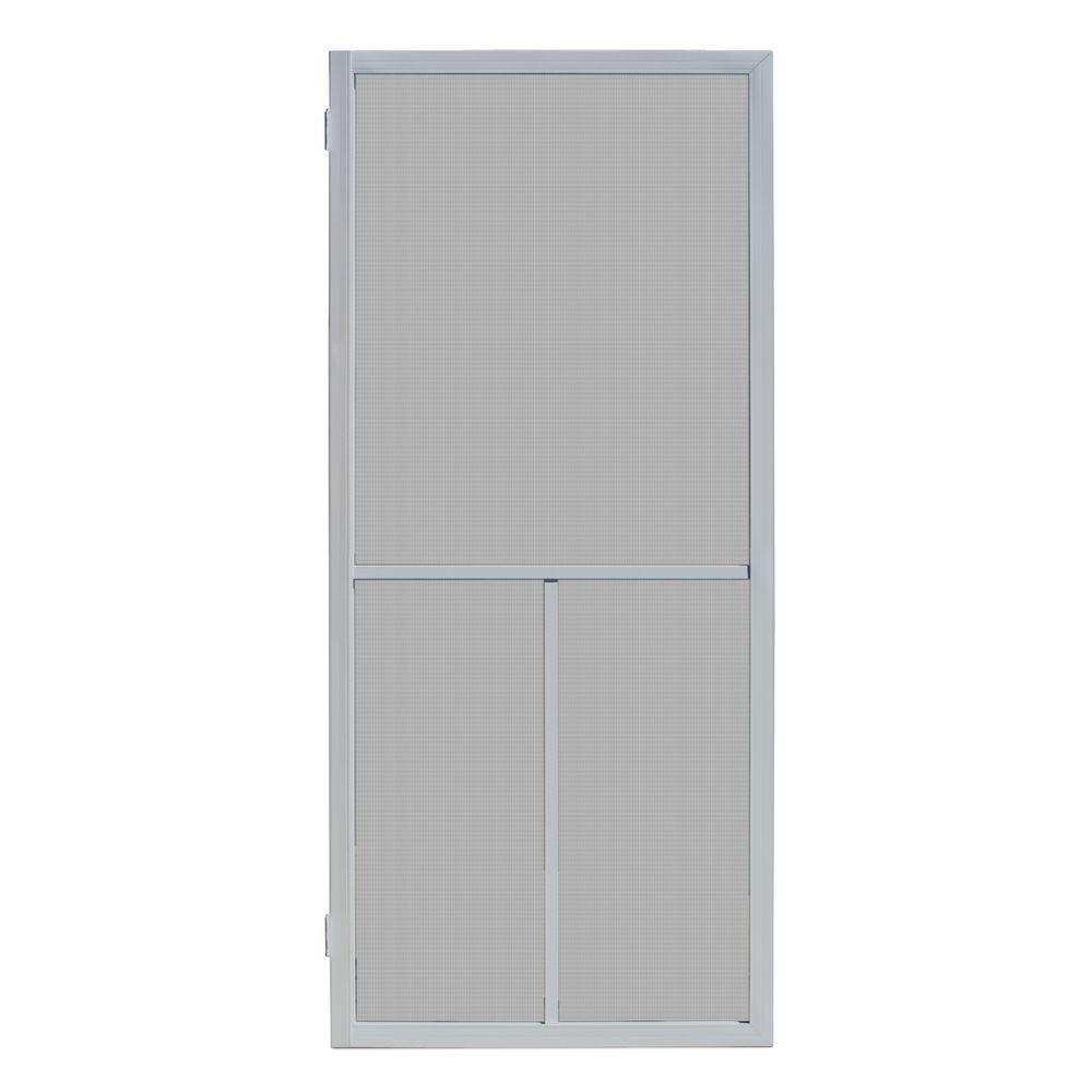 Unique Home Designs 36 In X 80 In Ventura Grey Outswing Metal Hinged Screen Door