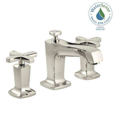 Margaux 8 in. Widespread 2-Handle Low Arc Water-Saving Bathroom Faucet in Vibrant Polished Nickel with Cross Handles
