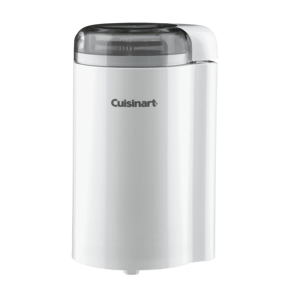 Coffee Grinder, White The Cuisinart DCG-20N Coffee Grinder in White should be kept handy to grind your beans just prior to brewing your coffee for the best taste. Stainless steel blades make easy work out of peppercorns, parsley or basil; or chop up your very own herb mixture. Get a second grinder for grinding spices and herbs Its 2.5 oz. (70 g) capacity is enough for 12 cup.