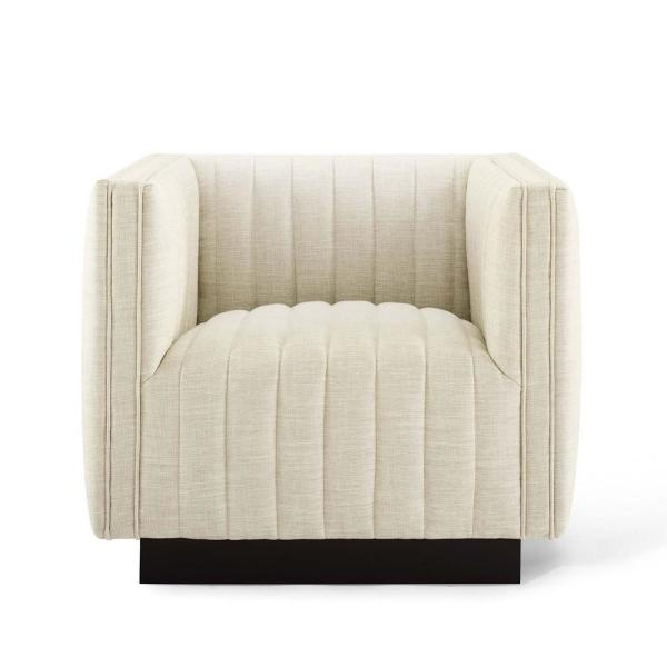 Beige Perception Tufted Upholstered Fabric Armchair